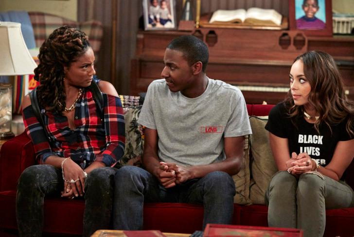 "THE CARMICHAEL SHOW -- ""Protest"" Episode 104 -- Pictured: (l-r) Tiffany Hagdish as Nekeisha, Jerrod Carmichael as Jerrod, Amber Stevens West as Maxine -- (Photo by: Ben Cohen/NBC)"
