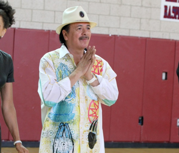 Carlos Santana and House of Blues Musical Instrument Donation at Andre Agassi College Preparatory Academy in Las Vegas on September 10, 2013